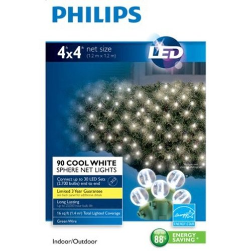 Philips 90Ct Cool White Led 4' X 4' Net Lights