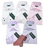 (グリニッジポロ)GREENWICHPOLOCLUBpe5枚 ネクタイ1本セット ワイシャツyシャツ M-ゆったり 形態安定長袖ワイシャツyシャツ 6点ワイシャツセット