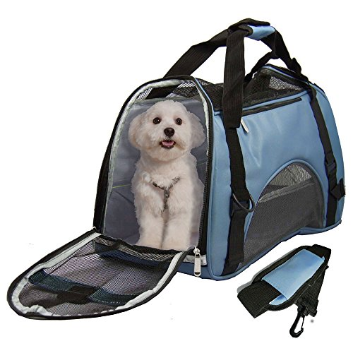Soft Sided Pet Carrier for Dogs Cats Puppies 19.5″L x 9.5″W x 13″H Airline Approved Travel Tote Bag Portable Handbag Shoulder Bag for Pets,Blue