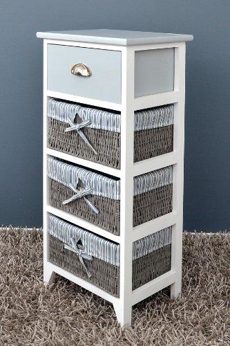 Ts ideen 4337 mobiletto per il bagno con 1 cassetto e 3 cestini rivestiti in stoffa colore - Cestini per bagno ...