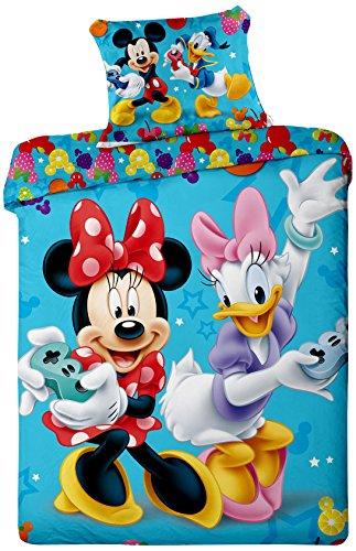 Jerry Fabrics JF0100set biancheria letto Mickey e Minnie Spiele, 1x coperta e federa per cuscino, 100% cotone, 140x 200/70x 90cm