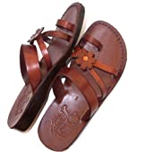 Unisex Adults/Children Genuine Leather Biblical Sandals / Flip flops (Jesus - Yashua) Galilee Style - Holy Land Market Camel Trademark
