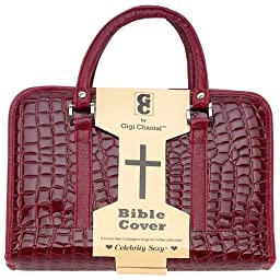 Gigi Chantal Burgundy Faux Alligator Bible Cover