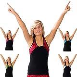 Pizzazz Black Tri Color Zebra Glitter Cheer Dance Top Girls 2-16 Pi