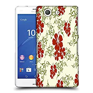 Snoogg Red Flower Cream Pattern Designer Protective Phone Back Case Cover For SONY XPERIA Z3 COMPACT