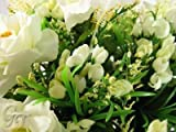 Artificial Silk Flower Cream Rose and Stamen Bush from GT Decorations