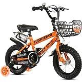 QvQ 補助輪付き 組み立て式 子供用自転車 幼児自転車 補助輪フラッシュ 2-10歳 男女 (オレンジ, 12インチ) [並行輸入品]