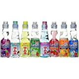 Ramune Japanese Marble Soft Drink Mix Variety 8 Flavors 8 Bottles