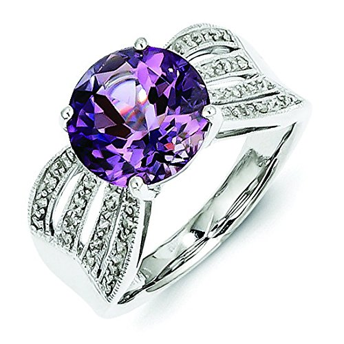 Sterling Silver Diamond and Amethyst Ring - Ring Size Options Range: L to R
