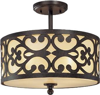 Minka Lavery 1498-357, Nanti Round Glass Semi Flush Ceiling Lighting, 3 Light, 180 Total Watts, Iron