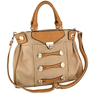 MG Collection Stylish Marching Band Buttons Shoulder Bag Style Satchel Handbag