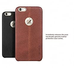 VORSON NC Apple iPhone 6 / 6S Premium Series Double Stitch Leather Shell with Metallic Logo Display Back Cover Brown
