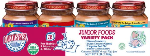 Earth's Best 3rd Foods Variety Pack, 6-Ounce Jars (Pack of 8)