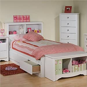 Amazon.com: Platform Storage Bed w/ Bookcase Headboard White/Twin ...