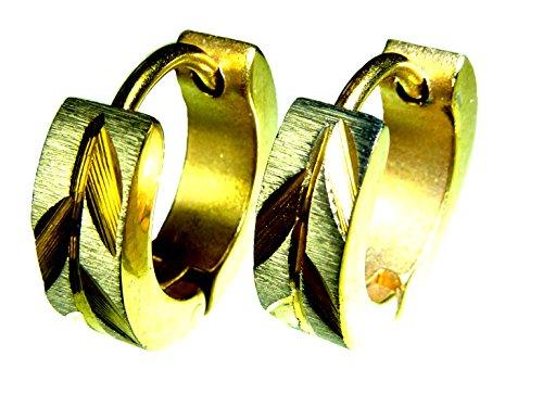 1Paar goldene Creolen aus Edelstahl,gebürstet,14mm