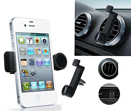 """Regolabile da auto per bocchetta di aerazione, 8,89 cm (3,5"""") 16,00 (6,3 cm-Supporto per telefono cellulare iPhone 3/4/4S/5/5S/5C, Samsung Galaxy, Nokia, HTC, Blackberry, colori assortiti (nero)"""