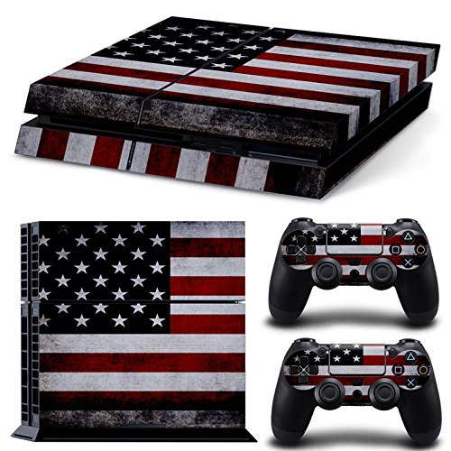 Ambur® PS4 Console Designer Skin for Sony PlayStation 4 System plus Two(2) Decals for: PS4 Dualshock Controller --- ps4 skin american flag Deisgn (Nike Steering Wheel compare prices)