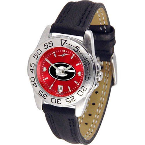 Suntime Georgia Bulldogs Ncaa Anochrome Sport Ladies Watch Leather Band