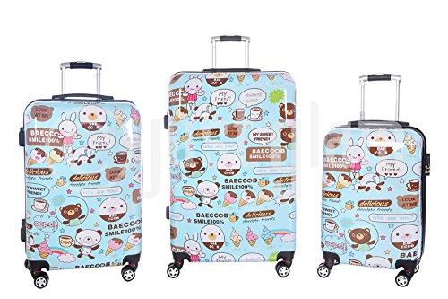 JustGlam - Set 3 trolley lucidi Smile , valigie rigide in ABS policarbonato ,8 ruote piroettanti ,bagaglio piccolo da cabina idoneo per voli lowcost , chiusura con lucchetto a combinazione / unico