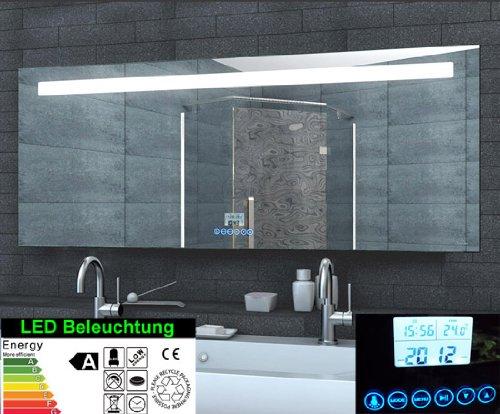 Specchio con luce LED orologio radio mp3Touch Interruttore, Alluminio, 160x60