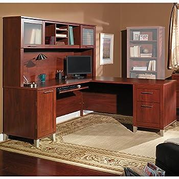 Bush Furniture Somerset 71W L Shaped Desk with Hutch in Hansen Cherry