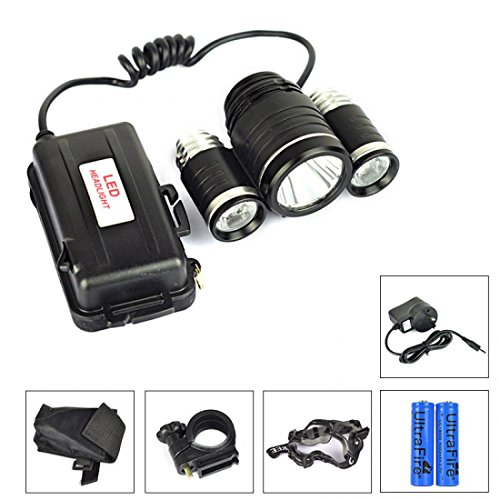 Howling 6000LM 4 Modes LED Headlamp Energy Saving Torch Lamp Waterproof with Bike Mount Battery Charger