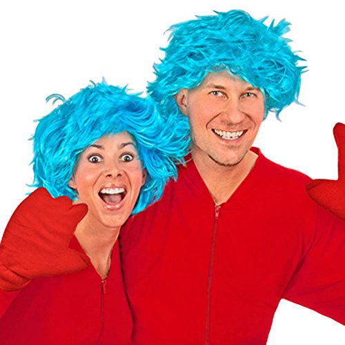 Blue Hair Wig and Red Fleece Mittens Costume Accessories