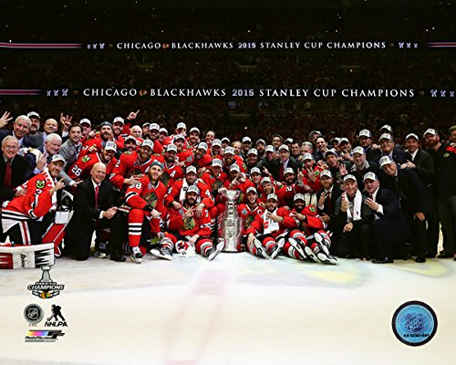 Chicago Blackhawks 2015 Stanley Cup Champions Team Celebration Photo (Size: 8 x 10) 2015 nhl stanley cup final game 4 puck in acrylic cube tampa bay lightning vs chicago blackhawks