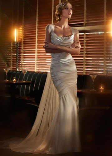 David's Bridal Wedding Dress: Satin Gown  Cascading