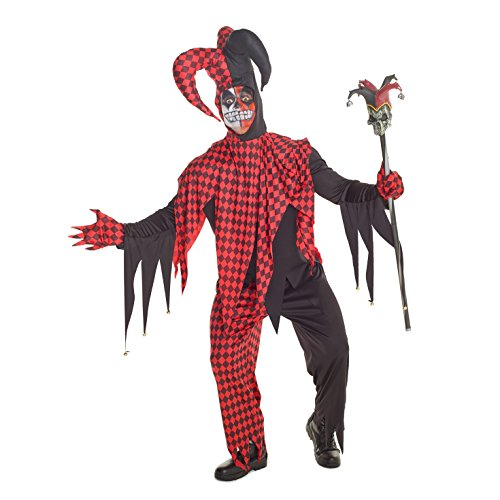 Mens-Red-And-Black-Evil-Jester-Joker-Costume-4-Piece-Quality-Costume