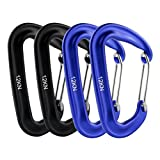 12 KN Snag-Free 4 Pack Wire Gate Carabiners Biners - Rated 2,645 Pounds for Hammocks, Camping, Backpacking, Home, Rv, Fishing, Hiking, Traveling and General Utility Use