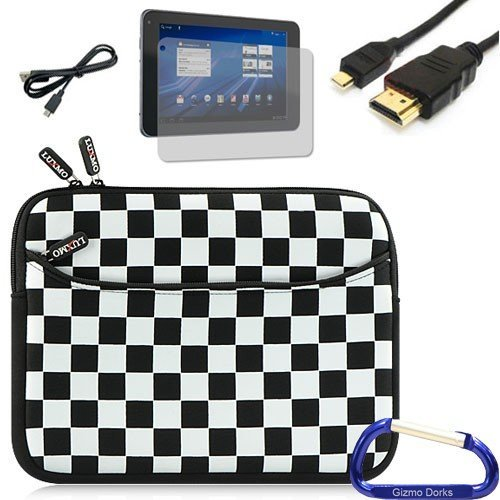 Gizmo Dorks Neoprene Zipper Sleeve (Black and White Checker), Screen Protector, HDMI, and USB Cable Bundle with Carabiner Key Chain for the T-Mobile LG G-Slate Tablet