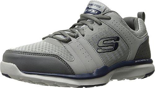 Skechers Sport Men's Quick Shift Tr Oxford Sneaker, Light Gray/Blue, 11 M US