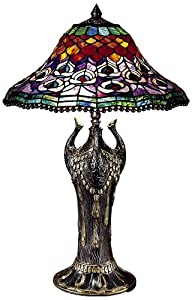 Dale Tiffany 8503 215 Peacock Tail Table Lamp Antique