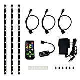 HitLights Eclipse Pre-Cut Multicolor RGB Media Center LED Light Strip Kit - Includes Remote Control and Power Adapter - Three Pre-Cut One Foot Strips, Wire Mounting Clips and Connectors