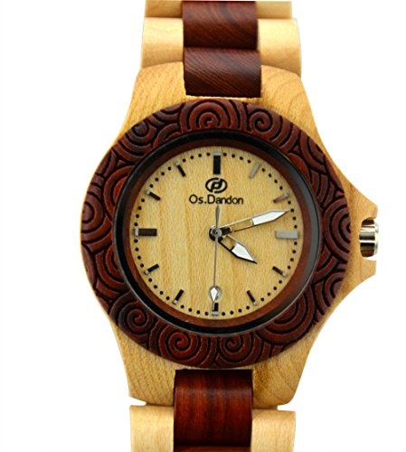 Topwell� Date Calendar Handmade Mens Solid Wood Watch Made with Natural Maple Wood & Red Sandalwood Wooden Watches Wooden Quartz Analog Men Watch Quartz Calendar Date Wood Wrist Watch Gift Giving Watches