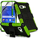 ( Green ) Samsung Galaxy Young 2 GM-130 Case Custom Made Case Tough Survivor Hard Rugged Shock Proof Heavy Duty Case W/ Back Stand, LCD Screen Protector Guard, Polishing Cloth & Mini Retractable Stylus Pen by ONX3®