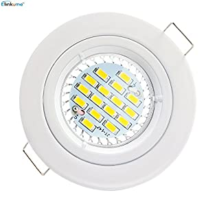 Elinkume Downlight Ceiling Recessed Light 6W 16 5630 Super Bright GU10 LED Bulb 480-450 Lumen Warm White downlight(2800-3200)AC85-265 by Elinkume