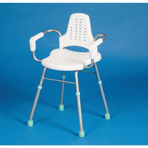 Be-Active Aluminium Shower or Bathroom Stool with Arms & Backrest - lightweight with horizontal seat