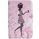 ISAKEN Samsung Galaxy Tab 3 7.0 Case,Leather Case with Flip Stand for Samsung Galaxy Tab 3 7.0,Butterfly Fairy Girl Flower Inlaid Bling Shiny Glitter Diamond Pu Leather Flip Protective Stand Case Cover for Samsung Galaxy Tab 3 7.0 P3200/ P3210/ T210/ T21