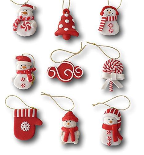 9-tlg-Set-Weihnachtsbaumschmuck-Christbaumschmuck-Figuren-Aufhnger-Baumschmuck-Anhnger-aus-Polymer-Ton-Pfefferkuchen-oder-rot-wei-Design-Design-rot-wei