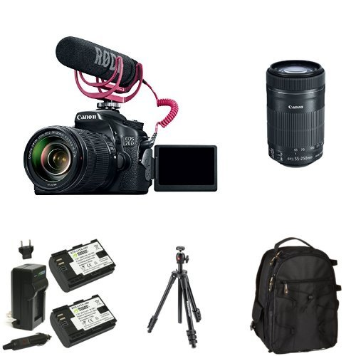 Canon EOS 70D Video Creator Kit with 18-135mm and 55-250mm Lenses, Rode VIDEOMIC GO and Sandisk 32GB SD Card Class 10 + Bag, Battery and Tripod