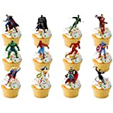 12 x LARGE Marvel Super Hero Superhero Premium Quality STAND UP STANDUPS Fairy Muffin Cup Cake Toppers Decoration Edible Rice Wafer Paper