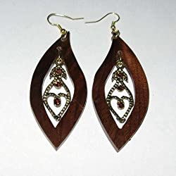 Oval Pointed Black Walnut Earrings