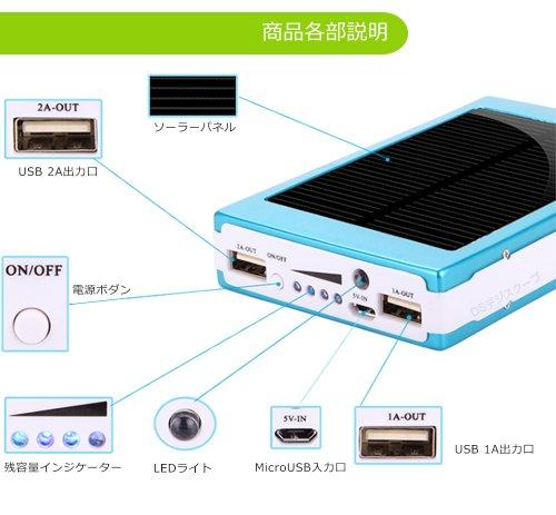 ソーラー モバイル バッテリー 大容量 30000mAh 2USBポート同時充電 スマホ ケイタイ 充電器 ソーラーチャージャー iPhone/iphone5/PSP/MP3/スマホ各種対応 (レッド)