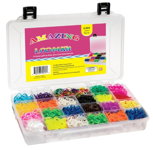 Amazing Loom Bands Complete Collection Organizer Storage Kit, Includes 6,800 Bands +300 Clips a Variety of 12 Beautiful Colors - Including Tie-dye and Glow in Dark Ruber Bands (Compare to Twistz Bandz Rainbow Loom Bracelet Rubber Band Kit)