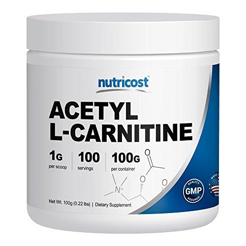 Nutricost acétyl L-Carnitine (ALCAR) 100 GMS - 100 portions - 1000mg par portion - plus haute qualité pur acétyl L-Carnitine poudre - Cognitive Enhancer - Poussée de la puissance de votre cerveau