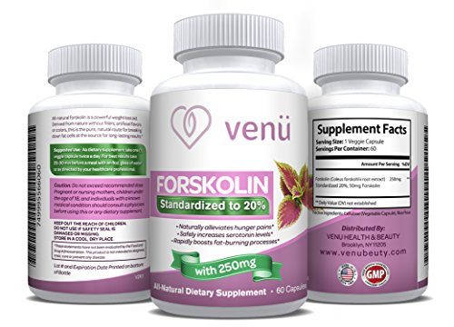 Venü Beauty All-Natural Forskolin – 60 Veggie Capsules with Pure Forskolin Extract -Dietary Supplement for Fast Weight Loss, Boosted Metabolism & Healthy Blood Pressure