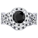 1.60 Carat (ctw) 14K Gold Round Black & White Diamond Ladies Halo Style Bridal Engagement Ring Band Set
