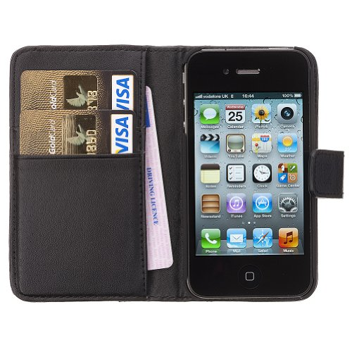 Fonerize Leather Wallet and iPhone 4 4S Case plus Card Holder in Black
